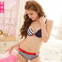 Bikini navy stripe women's skimpily bra set underwear set ds costume