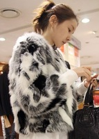Free shipping Women's fashion ladies black and white mixed color artificial fur short jacket