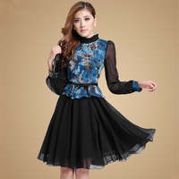 2013 autumn women's formal long-sleeve print faux two piece set chiffon one-piece dress with belt