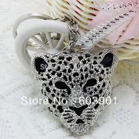 Free Shipping full rhinestone,crystal Leopard Key chain Alloy Keyring handBag car Charm fashion silver