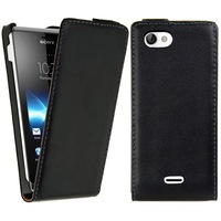 New Genuine Leather Case, Flip Real Leather Cover for Sony ST26i Xperia J,Free shipping