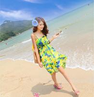 Irregular 2013 bohemia beach dress low-high female ruffle suspender skirt floral print tube top one-piece dress