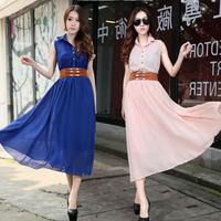2013 summer women's summer fashion lace sleeveless turn-down collar chiffon jumpsuit full dress with belt