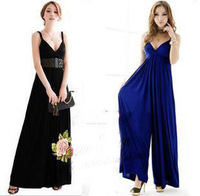 V-neck spaghetti strap one-piece dress wide leg pants skirt full dress jk sexy beach dress