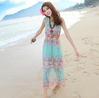 Bohemia beach dress tank dress short-sleeve female one-piece dress plus size chiffon dress mopping the floor full
