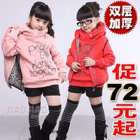 Children's clothing female child set autumn thickening child sweatshirt vest child 2012 twinset