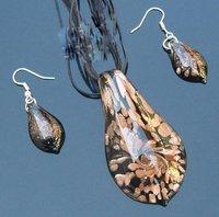 !!! 50set /lot APET-1 Lampwork Murano Glass Pendant Necklace Earrings set Jewelry(Free shipping)