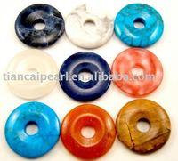 100pcs/Lot Free Shipping!!25mm Ring Fashion Pendant-Nature Stone Pendant