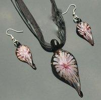 free shipping!!! 50set /lot DB-13 rain drop Lampwork Murano Glass Pendant Necklace Earrings set Jewelry