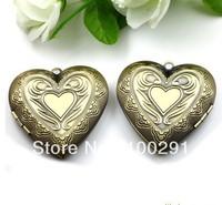 antque copper 40mm peach heart shape photo case pendant for necklace