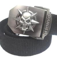 Skull head Unisex men women belt Fashion belt buckle canvas belt , Gift Belts free shipping B72