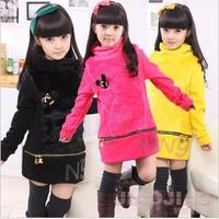 Children's clothing female child basic shirt long design child gentlewomen basic shirt 2013 thickening thermal