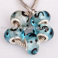 free shipping by DHL/EMS  charming clearly   big hole beads/ glass Beads Fit European thick Bracelet