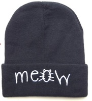 2013 new arrival MEOW beanie caps 2 clours men and women hiphop beanies skullies fashion winter hats