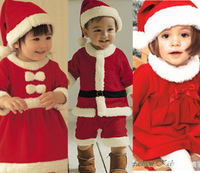 Free shipping Christmas Children Suit Baby Boys Girls Christmas Jumpsuit girls Bow dress + Hat Set Child Clothings 2pieces Kids