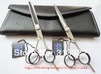 "Promotion: 5.5"" Kasho Hair Cutting Scissors 440C,1pc razor+1pc thinning scissor with a bag,Barber Scissors Set,Hairdressing"