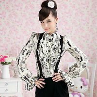Femininas Renda Blusas Women's Lace Print Royal Elegant Slim Blouse Long-sleeve Ruffle Bow Turtleneck Shirts Roupas