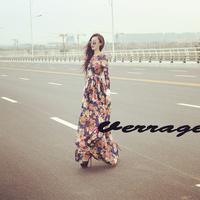 Free Shipping 2014 Fashion Women Pleated Print Bohemian Lace Maxi Dress Europe Vintage Slim Floor Length One piece Dress(S-XXL)