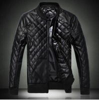 Free Shipping! 2014 HOT Sale spring autumn casual Korean men's pu leather jacket XXXXL collar thin section black