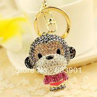 Free Shipping full rhinestone,crystal monkey Key chain Alloy Keyring handBag car Charm fashion gold gift trendy accessories