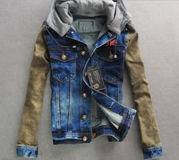 Mens VINTAGE hooded Denim Jean motorcycle hoody high quality Jacket Coat