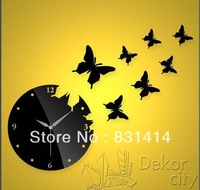 Black High Quality Fashion Diy 3D Wall Stickers Clock Hot Selling Home Decoration Butterfly Mirror Wall Clock Wedding Gift
