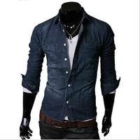 Free Shipping 2013 NEW Men's Fit Slim Cowboy Shirts Long Sleeved Cotton Casual denim shirt korean fashion 2 Color, M-XXL
