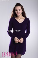 Female mink sweater v medium-long thermal wool knitted sweater one-piece dress cashmere sweater