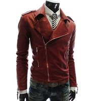 New 2014 Free shipping New personalized multi zipper large lapel men's Slim Short leather jacket pu jackets man