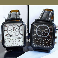 2013 Men's Fashion V6 Brand Watches Men Sport Movements Three Big Dial Leather Watches Free Shipping