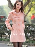 2013 Women's Trench Coat wool Winter Bowtie Jackets Coats Parka Winter Overcoat Free Shipping h720