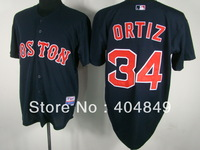 AA+ 34 multi type David Ortiz jersey,Red Sox white gray navy blue pink authentic,women youth custom baseball free shipping