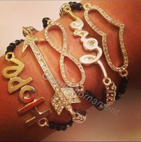 2013 new fashion 5pcs multi layer set bracelet with friendship Hope Love Infinity bow and heart charm jewelry free shipping