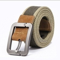 Free Shipping Men's Military Belt Thicken Canvas Belt For Men Outdoors Genuine Cow Leather Belt