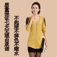 Spring and autumn sweater female cardigan coat thin women's medium-long long-sleeve cashmere sweater