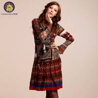 Fashion red vinikawen autumn slim one-piece dress chiffon skirt 2013 long-sleeve plus size