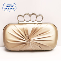 Iber diamond ring pleated high quality women's dinner party bridal bag