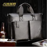 Free shipping male brand genuine leather handbag ,briefcase portfolio messenger business suitcase ,dispatch folio attache case