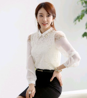 Professional women clothing coat 2013 new women fashion lace long-sleeved shirt primer shirt Korean version spring chiffon shirt