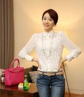 2014 fashion casual women's clothing women Hitz lace chiffon shirt shirt bottoming shirt Slim wild
