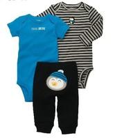 Original Carter's Retail 3-piece bodysuit pant set (Sizes3M-24M) penguin infant boy cotton bodysuit Free shipping In stock