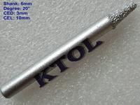 BEST Sale! 5pcs/set Free Shipping 6MM Shank 20 Angle V Diamond Stone Engraving Carving Bits,Pyramid Engraving Tool Bits for CNC