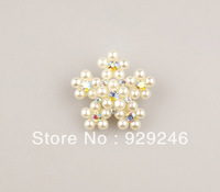 fre shipping 2.8cm snow flower AB crystal pearl rhinestone button silver one hole for hair decoration coat bag garment sewing
