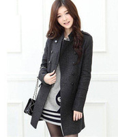 Free Shipping 2013 Woman New Fashion Women's Slim Wool Double-breasted Coat Winter Gray/black