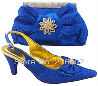 Free shipping, high quality ladies' wedding dress shoes with matching evening bag in ROYAL BLUE, RED, PURPLE, SILVER, GOLD.
