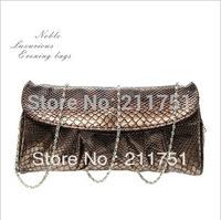 2013  fashion high quality serpentine pattern faux leather daily clutch women's cross-body chain handbag  evening bag K121