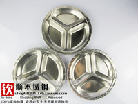 Stainless steel fast food tray stainless steel dish box round 3 fps fast food tray child dish 22cm