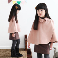 NEW FASHION  2013 children's winter clothing cloak woolen overcoat girls outerwear 13591  WHOLESALE Free Shipping