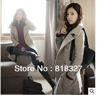 2013 fashion new fall and winter clothes women's woolen coat, and long sections Slim double-breasted wool coat