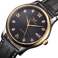 Langbao Brand Ultra-thin Waterproof 200M Rhinestone Quartz Genuine Leather Mens Watch Luxury Elegant Male Watch
